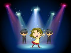 A young singer at the center of the stage - stock illustration