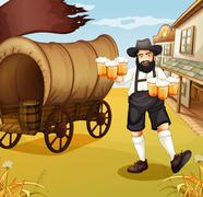 A waiter near the wagon Stock Illustration