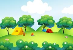 Camping tents at the top of the hill Stock Illustration