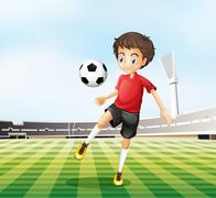 A football player in his red uniform - stock illustration