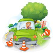 Stock Illustration of A green car bumping the traffic cones