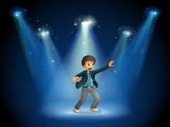 A stage with a boy dancing at the center - stock illustration
