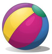 A colorful inflatable beach ball - stock illustration