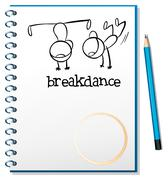 A notebook with a drawing of two boys breakdancing - stock illustration
