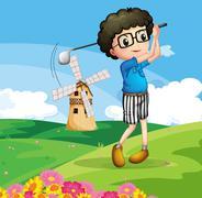 A boy playing golf - stock illustration