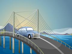 Stock Illustration of A car on the road