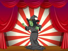 A witch standing at the stage Stock Illustration