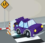 A violet car having an accident at the road Stock Illustration
