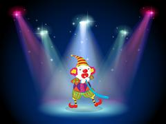 A clown at the stage with spotlights - stock illustration