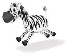A zebra running - stock illustration