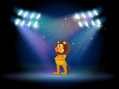 A lion standing in the middle of the stage Stock Illustration