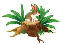 Stock Illustration of A rabbit sitting above a trunk