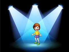 Stock Illustration of A little girl acting at the center of the stage
