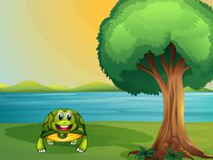 A turtle beside a tree at the river Stock Illustration