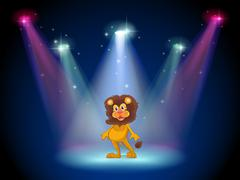 A stage with a brave lion in the middle Stock Illustration