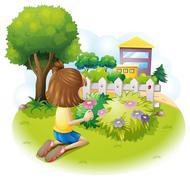 A girl at the garden Stock Illustration
