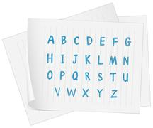 A paper with the complete letters of the alphabet - stock illustration