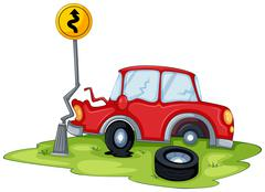 Stock Illustration of A red car bumping the signage at the road
