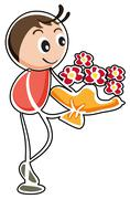 A boy holding a bouquet of flowers Stock Illustration