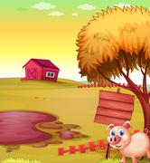 A pig outside the fence with an empty signboard and a barn Stock Illustration