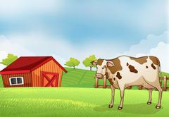 A cow in the farm with a barn house Stock Illustration