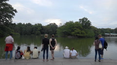 Central Park Pond Tourists People Peaceful View New York City NYC 4K Stock Footage