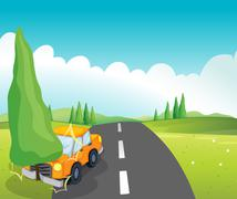 Stock Illustration of An orange car bumping the pine tree