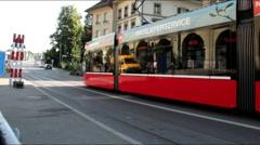 Departure of Speeding Tram at dusk time . Bern. Switzerland Stock Footage