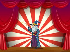 A wizard holding a wand in the middle of the stage Stock Illustration