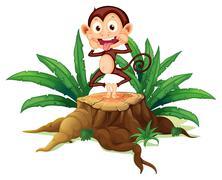 A boastful monkey above the trunk Stock Illustration