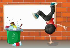A boy breakdancing near a trash can with an empty board - stock illustration