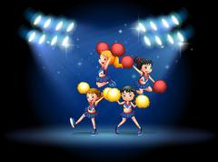 A stage with a cheerleading squad Stock Illustration