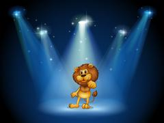 A stage with a brown lion at the center - stock illustration