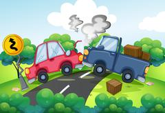 An accident at the road - stock illustration