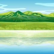 A mountain across the lake - stock illustration