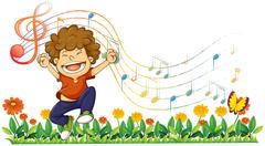 A boy singing out loud with musical notes - stock illustration