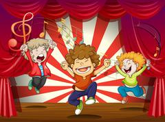 Kids singing at the stage - stock illustration