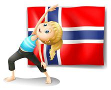 A Norwegian flag at the back of a girl exercising - stock illustration