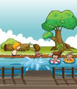 Children having fun at the river Stock Illustration