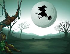 A witch at the graveyard Stock Illustration