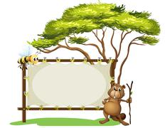 A beaver with a stick near a blank signage - stock illustration