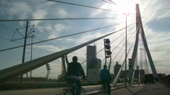 Erasmusbrug in Rotterdam, The Netherlands on a sunny afternoon (Tripod) Stock Footage