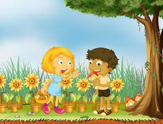 A girl stopping a boy from eating a mushroom Piirros