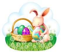 A bunny and a basket full of easter eggs Stock Illustration