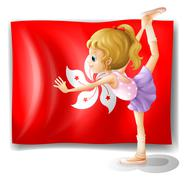 A ballet performer in front of the flag of Hongkong - stock illustration