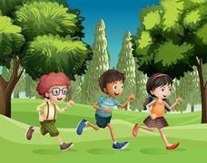 Children running at the park Stock Illustration