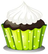 A chocolate cupcake with an icing - stock illustration