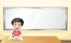 A boy writing on a paper with a blank board - stock illustration