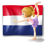 Stock Illustration of The Netherlands flag and the gymnast