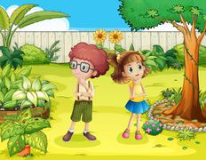 A girl and a boy in the backyard - stock illustration